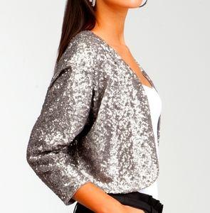 Bebe size 4 statement piece sequin  silver jacket